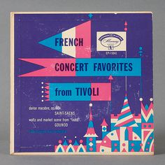 French Concert Favorites from Tivoli Record Cover #geometry #modern #record #cover #illustration #vinyl #mid #vintage #french #century #castle