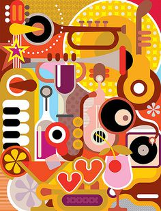 Music - vector illustration. Abstract composition with musical instruments and cocktail glasses. #heart #abstract #guitar #vector #bottle #drink #jazz #glass #illustration #music #love #party