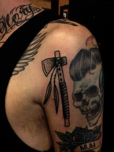 poked tomahawk for mikey. #tattoo #tomahawk