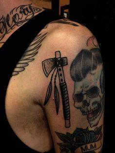 poked tomahawk #zombie #skull #tattoo #tomahawk
