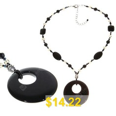 TX-1567N #Fashionable #Artificial #Onxy #and #Bead #Necklace #Neck #Chain #Neck #Ornament #Jewelry # # #for #Female