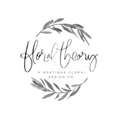 Floral_Theory_Grayscale_Logo #lettering #branch #leaf #floral #leaves #logo #plant
