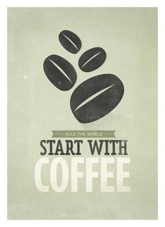 Coffee quote poster Start with Coffee Retrostyle by NeueGraphic #print #neuegraphic #poster #art #coffee #typography