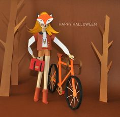 Chloé Fleury #fox #illustration #bike #papercut #forest #ginger #trees