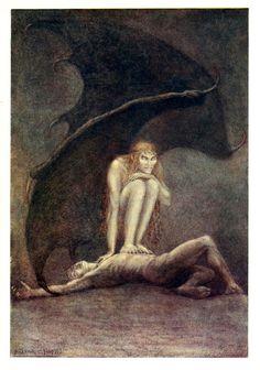 Frank Cheyne Pape The book of Psalms 1898 2 #illustration #demon #vintage #wings #evil
