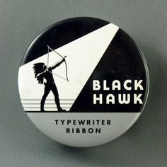 Black Hawk Typewriter Ribbon #packaging #grayscale #illustration #indian