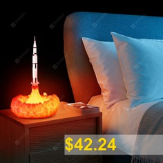 3D #Printing #Rocket #Lamp #USB #Rechargeable #LED #Night #Light #Innovative #Creative #Home #Decoration #- #MILK #WHITE