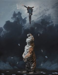 Joel Rea - Elevation #clouds #fantasy #float #illustration #storm #jump #painting #surreal #art #tiger #suit #paper