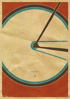 Singlespeed - Fixie Retro Race Bike Poster Design by Dirk Petzold Graphic Design and Illustration Art - buy art prints - Kunstdrucke kaufen