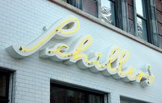 Schillers Signage #lettering #script #yellow #straight #dimensional #dope #signage #neon