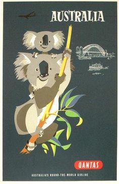 Australia Qantas #illustration #australia #travel #poster