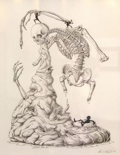 """Absolute Power of the Evil Tongue"" by Paul Waijman #skeleton #graphite #illustration #skull #bones"