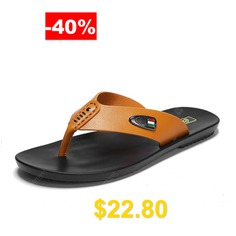 Mens #Stylish #Genuine #Leather #Casual #Slippers #Flip #Flops #Beach #Shoes