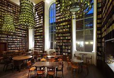 "CJWHO ™ (Library Lounge at B2 Boutique Hotel + Spa"">) #design #interiors #wood #photography #library"