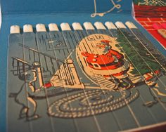 Inside a vintage jumbo matchbook | Flickr Photo Sharing! #illustration #matches #santa