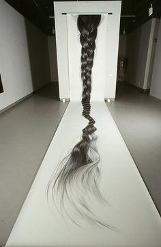Hair Drawings and Installations by HONG CHUN ZHANG