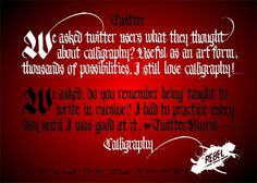 Twitter vs Calligraphy Mural #calligraphy #lettering #mural #gothic #twitter