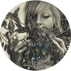 Artist Alessia Iannetti #alessia #hummingbird #girl #lannetti #illustration #circle #leaves