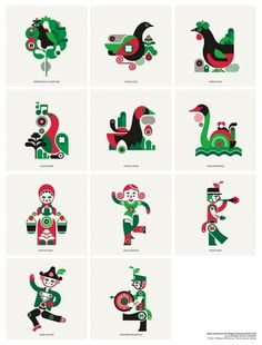12 Days of Christmas Icons - Fernando Volken Togni #illustration