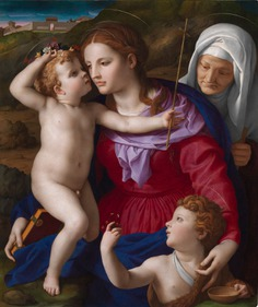 A Renaissance painting showing a beautiful woman with two babies and an older woman in a hood