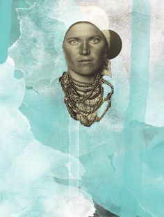 Ellis Island - Nina Barrois #collage #paint #emigrant