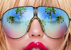 arn0_illustrations-600x424.jpg (600×424) #lips #70s #sunglasses #airbrush #illustration #palmtrees #shiny #babe #arn0
