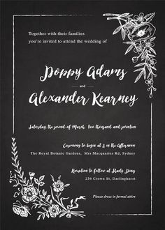 Floral Chalkboard - Wedding Invitations #paperlust #weddinginvitations #weddingstationery #weddinginspiration #card #paper #design #digital