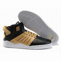 mens supra skytop 3 black gold leather skate shoes #shoes