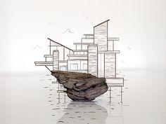 Fallingwater Island #illustration