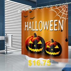 Halloween #Pumpkin #Pattern #Waterproof #Shower #Curtain #- #MULTI