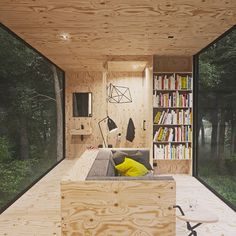 Cabin in a forest with minimal impact on the environment