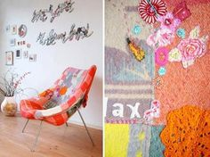 diy project: jane's patchwork chair | Design*Sponge #reupulstry #chair #textiles #wall #art #wool #patchwork