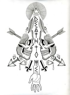 Designersgotoheaven.com Death to me by David M Cook. #design #arrows #tattoo #triangle #skulls #bw