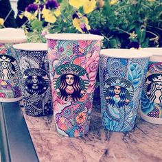 Creative Art Work: Turn Starbucks Cups Into Beauty Art #artwork #illustrations