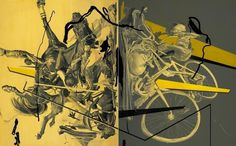 James Jean | Collision #canvas #abstract #acrylic #horse #collision #james #bike #art #jean #oil
