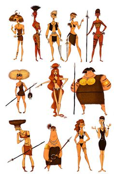Cartoonish Character Concepts of 'Amazons' by Olivier Silven #amazon #warriors #amazonian #women #illustration #concept #art #characters
