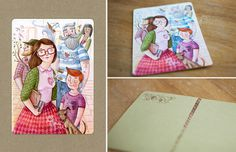 MAIL (HE)ART action - postcard from Magic Suitcase #postcard #illustration #watercolor #heart #people