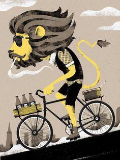 I Shot Him #illustration #bike #lion #mane