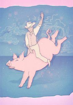 Pig Rodeo #sparrow #swallow #illustraion #v