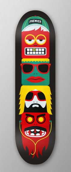 Premier - Skateboard Totem (mkn design - Michael Nÿkamp) #white #red #green #yellow #black #characters #premier #skateboardtotem
