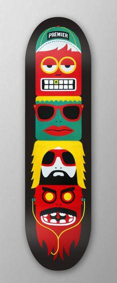 Premier - Skateboard Totem (mkn design - Michael Nÿkamp) #white #red #green #yellow #black #characters #premier #skateboardtotem