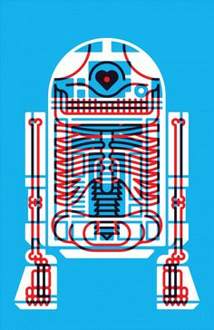 KOMBOH #heart #white #red #design #artoo #illustration #blue #r2d2