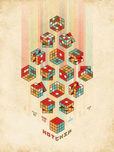 Awesome Poster Designs by DKNG #isometric #design #graphic #color #rubik #poster #cube