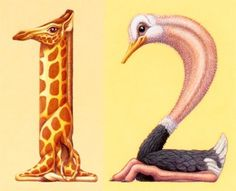 animalnumbers.jpg (JPEG Image, 383 × 310 pixels) #giraffe #ostrich #graphic #illustration #number #type #animal