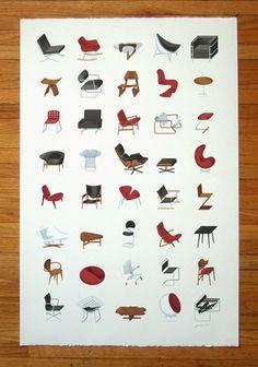 Mid-Century Modern | Jared Erickson #illustration #furniture #mid #poster #century #mod