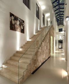 Californian House Encased in Beautiful Travertine Stone - #stairs, #staircase, #stairway, architecture, stairs