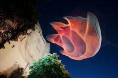 Giant Net Sculptures Color the Sky - My Modern Metropolis #janet #installation #by #art #echelman #net #neon