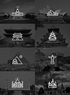 Touristic icon design by Yoon J Kim. #minimal #icons #travel #monuments