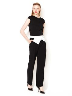 Colorblock Foldover Pant #white #and #black #pantsuit #fashion