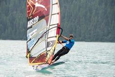 Sean O'Brien windsurfing on Silvaplana, Switzerland